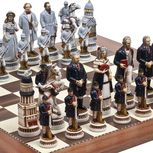 Bello Games Collezioni-American Civil War Luxury Chessmen from Italy & Astor Place Chess Board. Giant Size King: 5 5/8