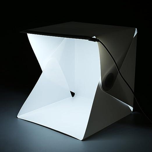Amzdeal Caja de fotografía Caja de luz portátil 40 x 40 cm para hacer fotos a objetos de mini con dos fondos negro/ blanco: Amazon.es: Electrónica