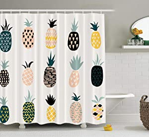 ASOCO Pineapple Shower Curtain, Cute with Pineapple Pattern Fruit Tropical Orange Food Bathroom Shower Curtains Waterproof Set of Hooks 72X78 Inches