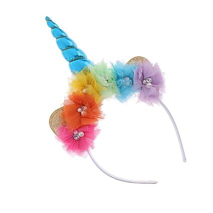 Prettyia Chistoso Cinta de Cabeza Unicornio Tul Cristal Cuerno Diadema de  Chica Floral Traje Accesorio de bee048929367