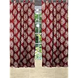 "Mogulinterior Spanish Medallion Scrolls Curtains red Window Panels Pair (48""X108"")"