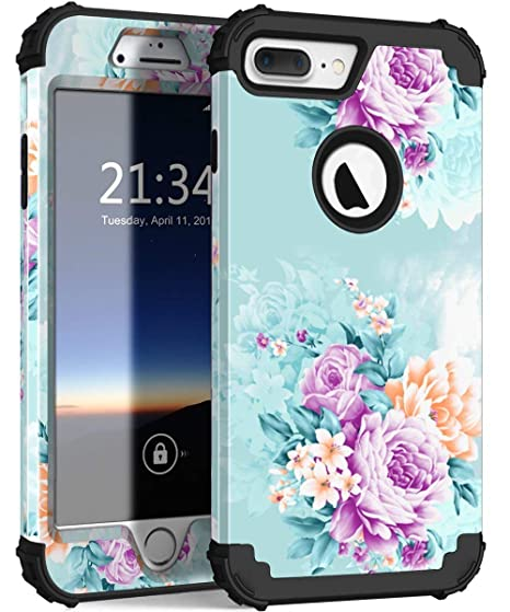 watch b8bc0 25a59 iPhone 8 Plus Case, iPhone 7 Plus case PIXIU Three Layer Heavy Duty Hybrid  Sturdy Armor Shockproof Protective Phone Cover Cases for Apple iPhone 8 ...