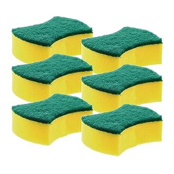 Qianming Esponja Estropajo, 6 Unidades Multiusos de Doble Cara para Lavar Platos, Esponja para