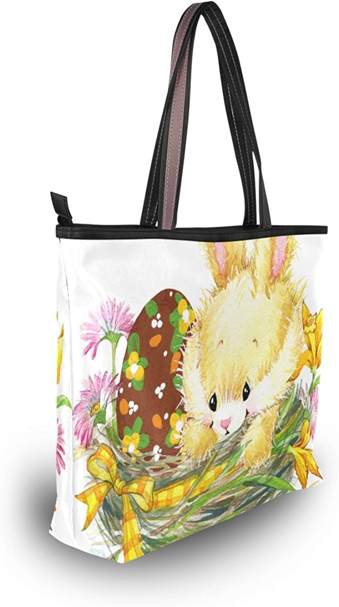 My Daily Women Tote Shoulder Bag Easter Bunny Rabbit Egg Flower Handbag