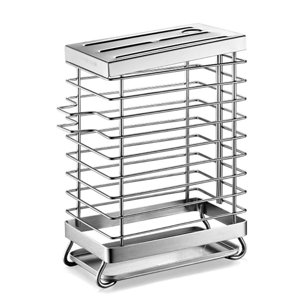 RenShiMinShop Rack Storage Rack Knife Holder Wall Hanging Punch-Free 304 Stainless Steel Drain Rack Kitchen Storage Rack (Color : Silver, Size : 1822cm)