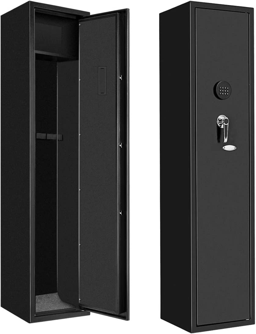BonusAll Home Digital Rifle Safe for 4 Gun, Electronic Gun Safe for Long Gun, Shotgun, Quick Access Rifle Security Cabinet with Shelf Box and 2 Keys (Metal Black)