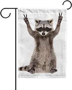 Double Sided Indoor Outdoor Garden Flag Raccoon Showing a Sign Peace Fade Resistant Seasonal Holiday Decorative Yard Flag 12x18