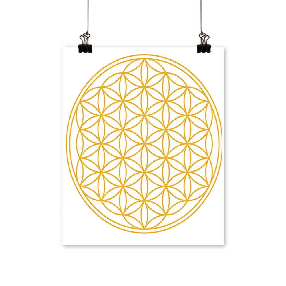 Modern Painting Aesthetic Flower of Life Motif with Circle Angles Esoteric Cosmos Theme Yellow Bedroom Office Wall Art Home,28''W x 52''L/1pc(Frameless) by painting-home