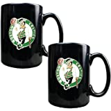 NBA Two Piece Black Ceramic Mug Set - Primary Logo