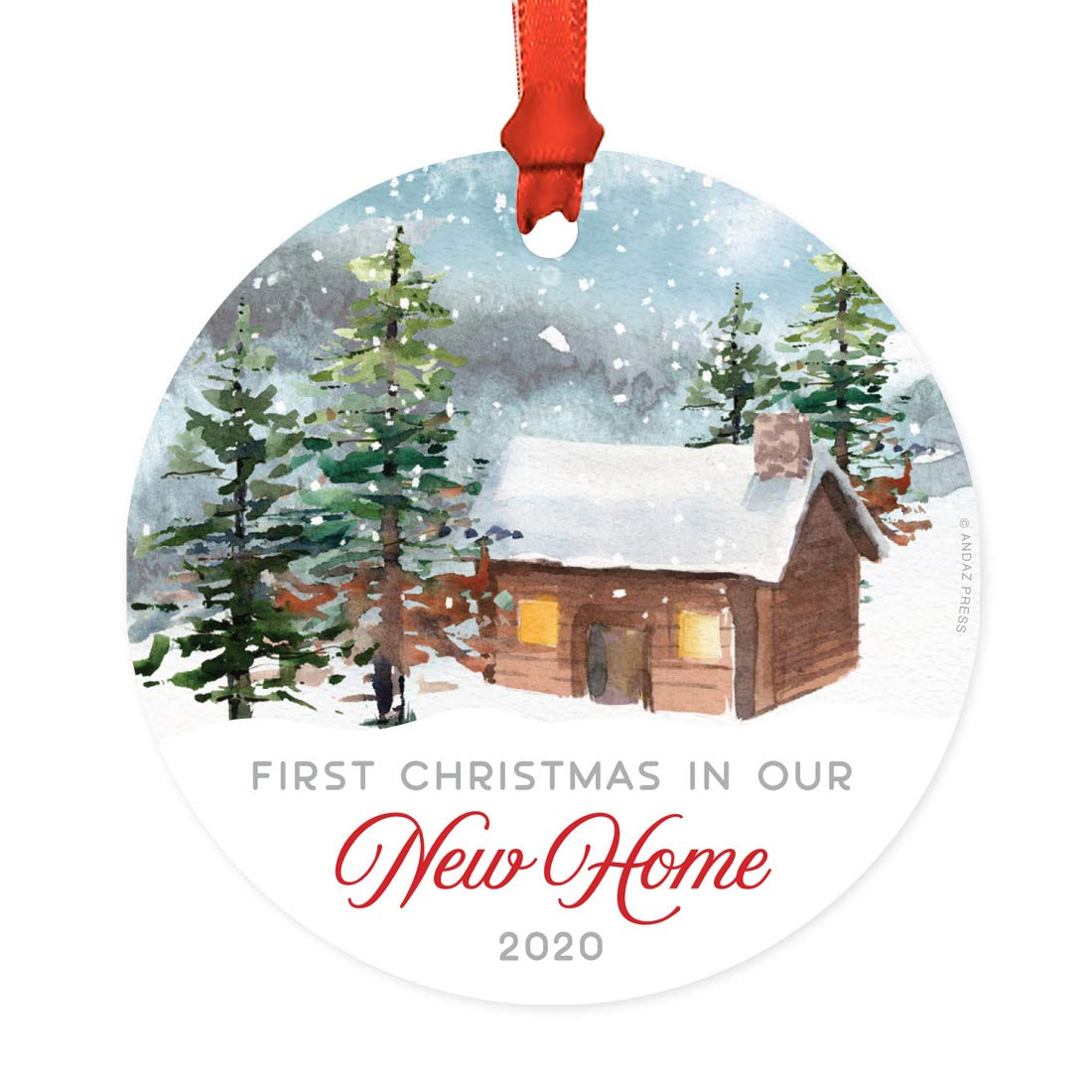 New Home Ornament 2020.Andaz Press Metal Christmas Ornament First Christmas In Our New Home 2019 Watercolor Rustic Deer 1 Pack Includes Ribbon And Gift Bag