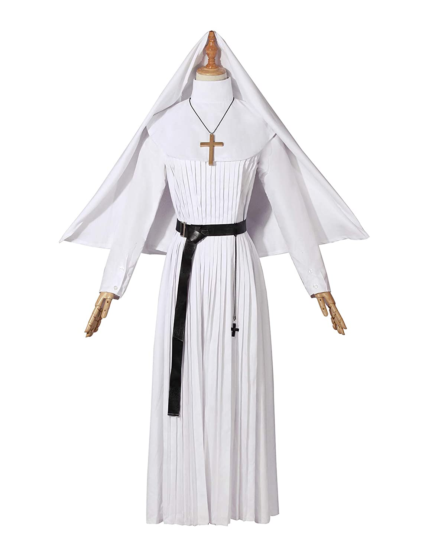 4cfe4680ec4 Amazon.com  Nuoqi Women s Nun Costume Dress Upgrade White Priest Plus Size  costume Choir Religious Gown  Clothing