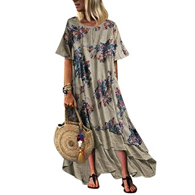 Long Summer Dresses for Women, Vintage Dot Print Maxi Dress Bohemian Plus Size Dress Short Sleeve Boho Dresses at Women's Clothing store