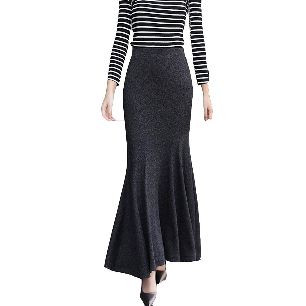 49294f6fe9ef1 TEERFU Womens Vintage Fishtail Long Skirt Mermaid Pleated Bodycon Skirt  High Waist at Amazon Women s Clothing store