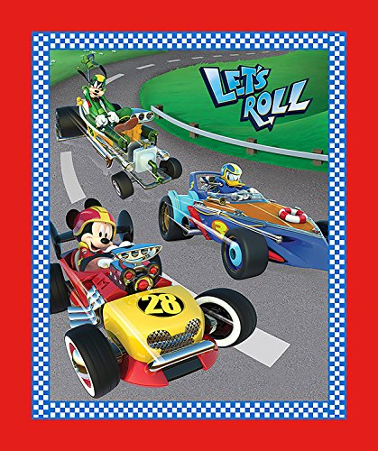 Disney Fabric Panel Mickey and Friends Lets Roll Fabric by the Panel - Friends Fabric Panel