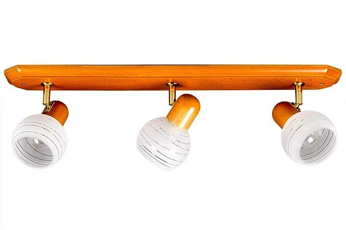 Lámpara de techo Foco Madera de Cerezo Colores Cristal ...