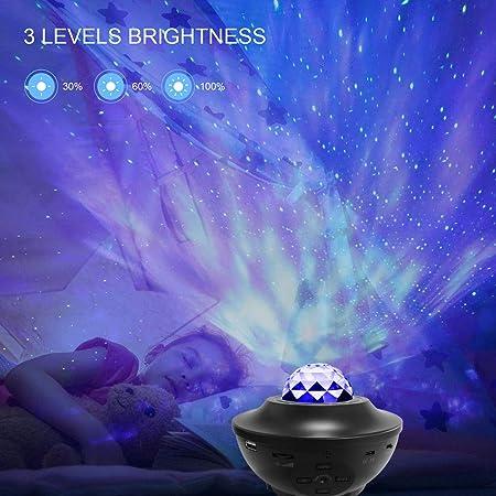 mit Fernbedienung Romantische Projektionslampe 3 Stufen Helligkeit und 10 Beleuchtungsmodi unterst/ützen U-Disk//Kartenleser//BT Music Player//Timer-Funktion Galapara Star Projector Night Light