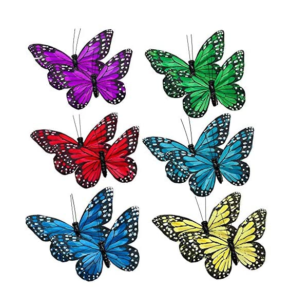 Butterfly Clip On Decorations – Set of 12 Vibrant Multi Colored Craft Butterflies Clips- Party Home Decor Spring Ornaments- Wreaths Plants Centerpieces Home Décor