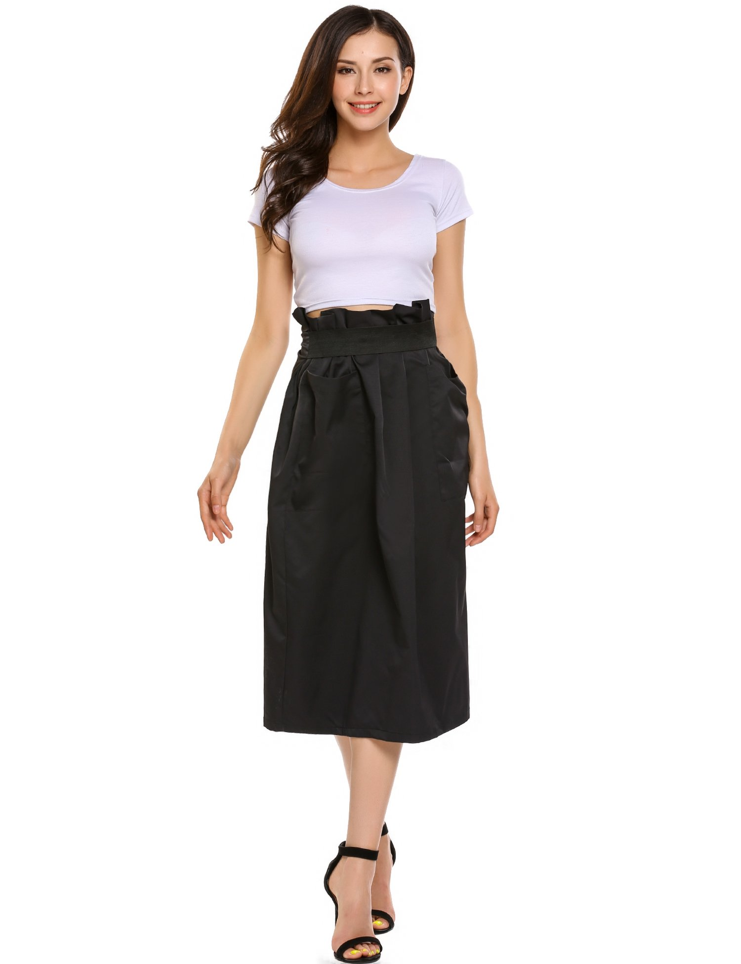Women Casual High Waisted African A Line Maxi Long Skirt Black Small by Zeagoo (Image #1)