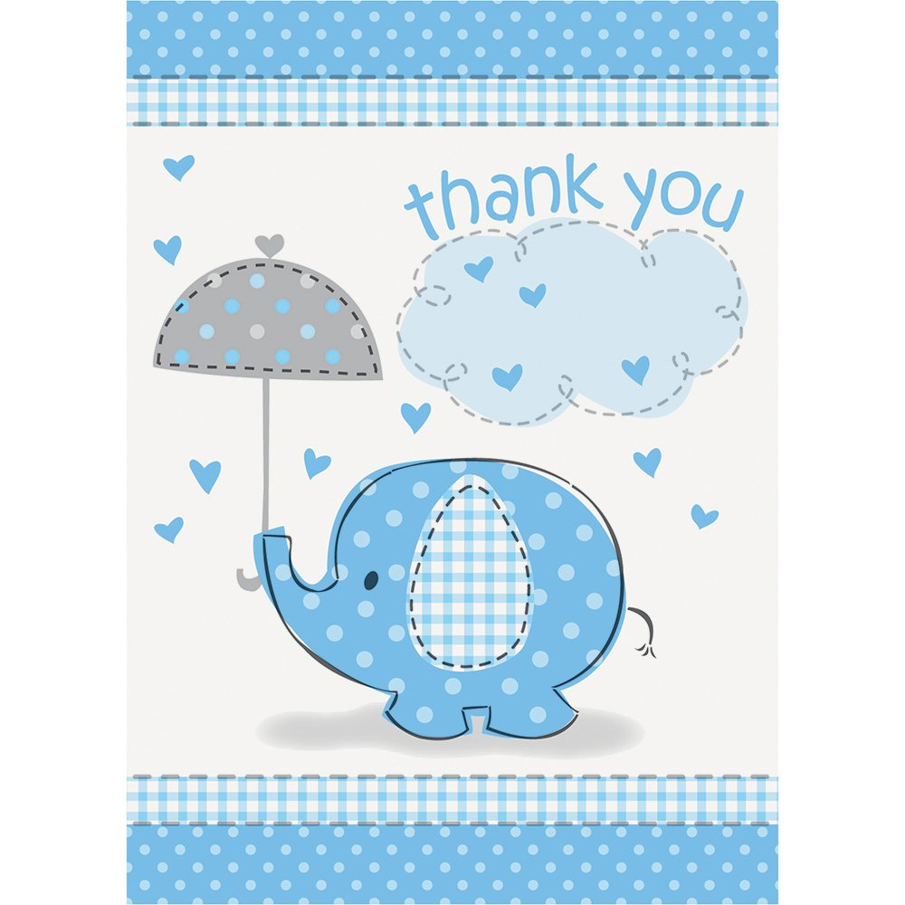 Blue Elephant Baby Shower Thank You Note Cards, 8ct Unique 41715