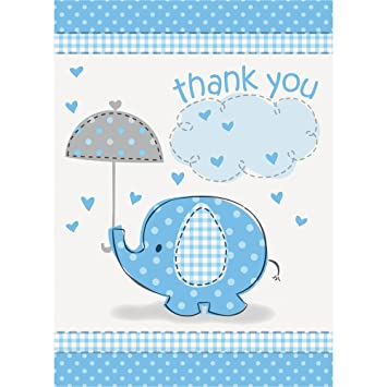 Amazon.Com: Blue Elephant Boy Baby Shower Thank You Cards, 8Ct