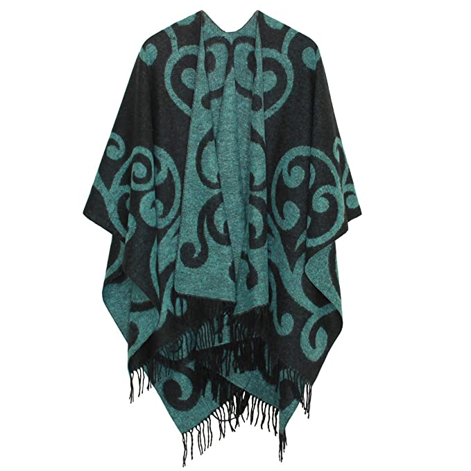 byLUNAS Two Sided Wool Womens Printed Tassel Open Front Poncho Cape Cardigan Wrap Shawl with Paisley Jacquard Dark Blue