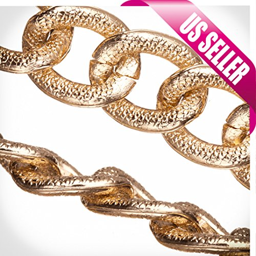 Aluminum Chain, Gold-Finished, Reptile Skin Textured Oval Links, 4mm Wire 22x18mm Sold per pkg of 25Ft