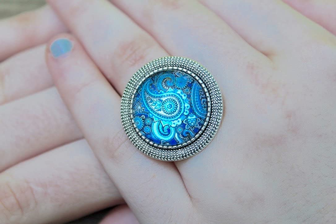 Handmade Yoga Ring Vintage Adjustable Antique Silver Plated Brass Seed of Life Blue Paisley Flower Meditation Ring Boho Ring