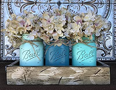 Mason Canning JARS in Wood Antique White Tray Centerpiece with 3 Ball Pint Jar - Kitchen Table Decor - Distressed Rustic - Flowers (Optional) - SEAFOAM, TURQUOISE, CARIB Blue Painted Jars (Pictured)