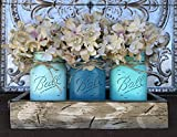 Distressed Kitchen Table Mason Canning JARS in Wood Antique White Tray Centerpiece with 3 Ball Pint Jar - Kitchen Table Decor - Distressed Rustic - Flowers (Optional) - SEAFOAM, TURQUOISE, CARIB Blue Painted Jars (Pictured)