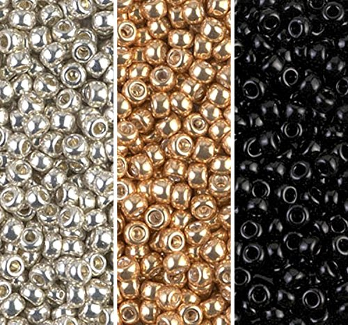 Gold Seed Beads - Metallic Miyuki Seed Bead Mix, Size 8/0, Galvanized Silver, Galvanized Gold And Black Opaque