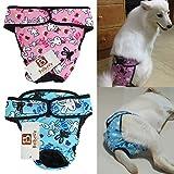 Bro'Bear Adjustable & Washable Female Pet Diaper for Medium to Large Girl Dog Sanitary Pantie (Pack of 2, X-Large)