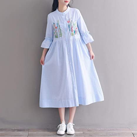 DAIDAILYQ Vestido Mujer Bordado Floral Algodón Lino Camisa Vestidos Mid- Long Vintage: Amazon.es: Deportes y aire libre