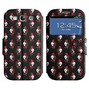 LEOCASE Cráneo y Rose Funda Carcasa Cuero Tapa Case Para Samsung Galaxy S3 I9300 No.1002452