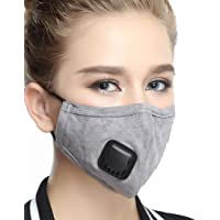 Reusable Dustproof Mask - Activated Carbon N95 Dust Mask PM2.5 Windproof Foggy Haze Pollution Respirator with Valve Replaceable Filters (Gray, Woman)