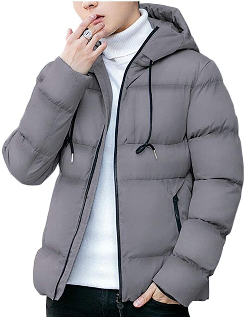 Yayu Mens Quilted Outdoor Hooded Zipeer Thicken Winter Cotton Jacket Coat