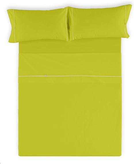 Es-Tela - Juego de sábanas liso con biés, color pistacho, cama de 150 cm (2 almohadas), algodón-poliéster, 4 piezas: Amazon.es: Hogar