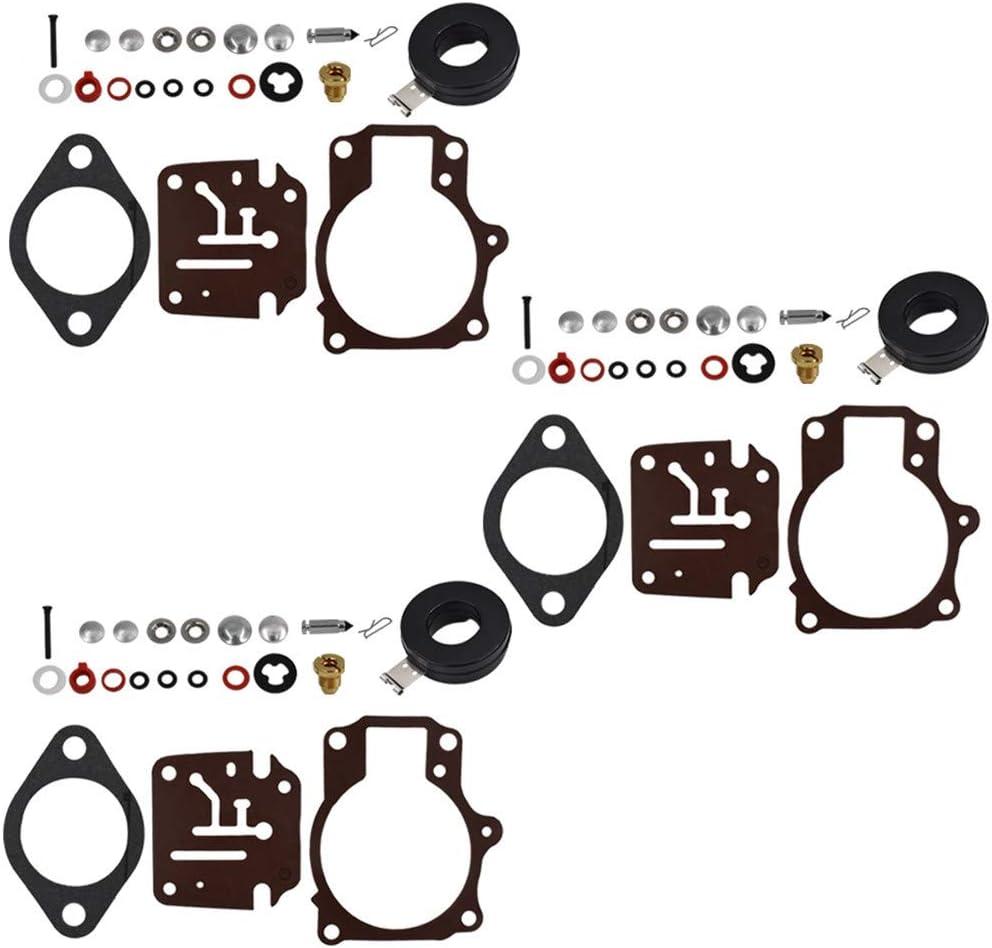 3 x Carburetor Carb Rebuild Repair Kits and Float Fit for Johnson Evinrude 396701 65 70 75 HP