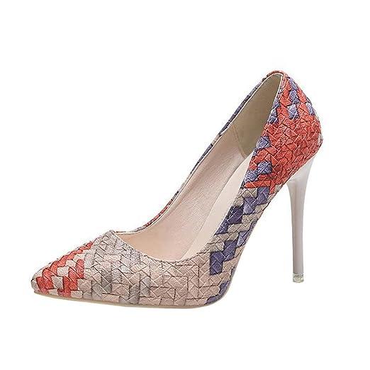 Tacones de mujer Covermason Moda tacones finos Zapatos colores mezclados Tacones bajos Zapatos(37 EU, rojo): Amazon.es: Ropa y accesorios