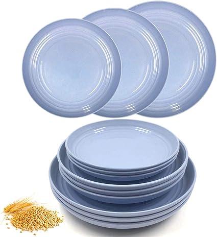 17,3 cm, 19,8 cm, 22,4 cm ligeros fruta irrompibles aptos para microondas carne N////A Juego de 12 platos de paja de trigo pasta perfecto para ensalada