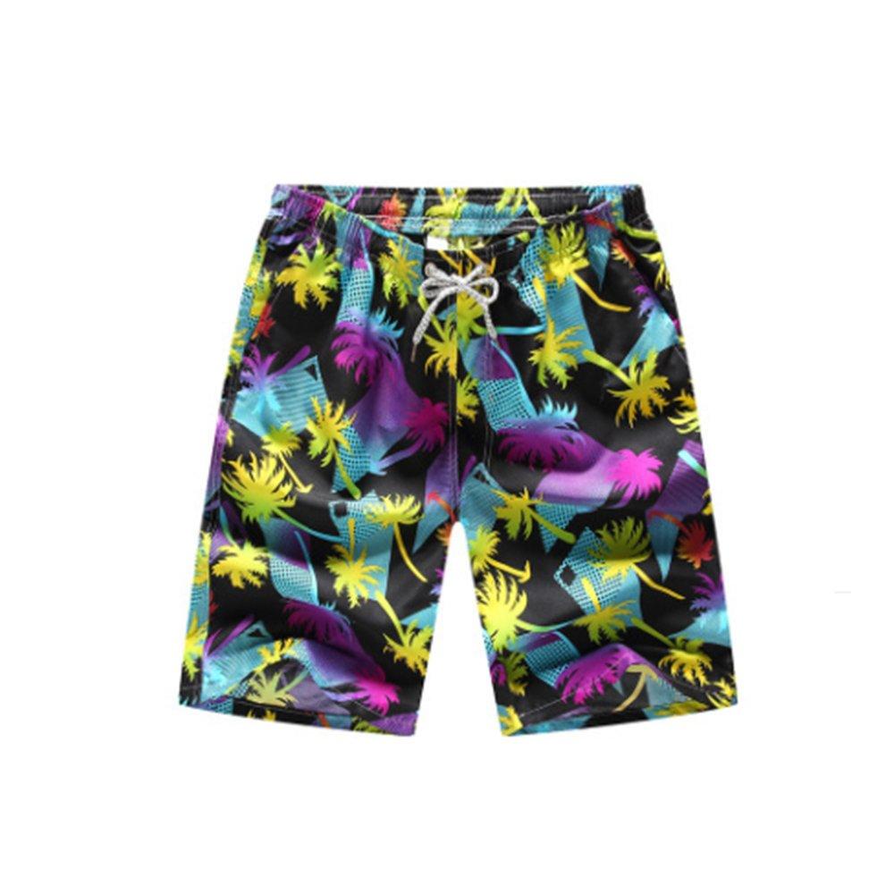 Aszune Printed Man's Swim Trunks, Quick Dry Beach Shorts for Summer& Poolside Coconut Tree (M)
