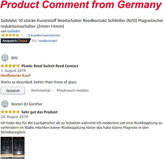 2,5mm /× 14mm N//O 10 /× Glas Reed-Schalter Reedkontakt Schlie/ßer GTIWUNG 10 /× Kunststoff Reedschalter Magnetischer Induktionsschalter