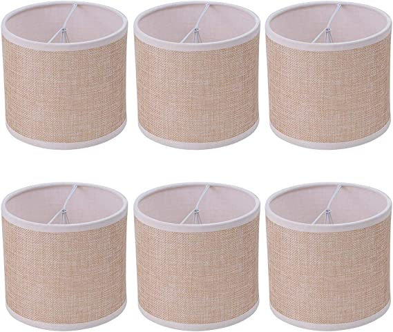 Wellmet Small Chandelier Lamp Shades Brown Set Of 6 Rustic Style Linen Drum Shades For Wall Lamp Hardback Clip On Lamp Shades For E12 Candle Bulbs 5 5 X 5 5 X 4
