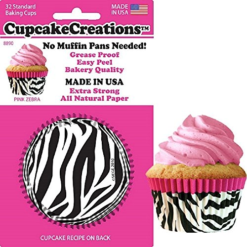 Pink Zebra Party Cupcake Baking Cups (32 ct)
