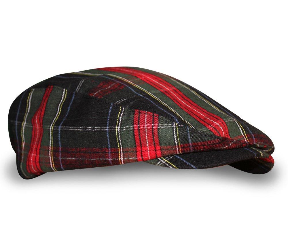 Plaid Flat Golf Cap: 'Par 5' - Black Stewart - Youth by Golf Knickers