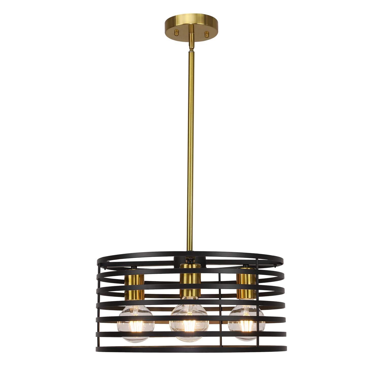 Vinluz 4 lights round chandeliers modern cage farmhouse lighting black and brushed brass kitchen island light industrial pendant lighting ceiling light