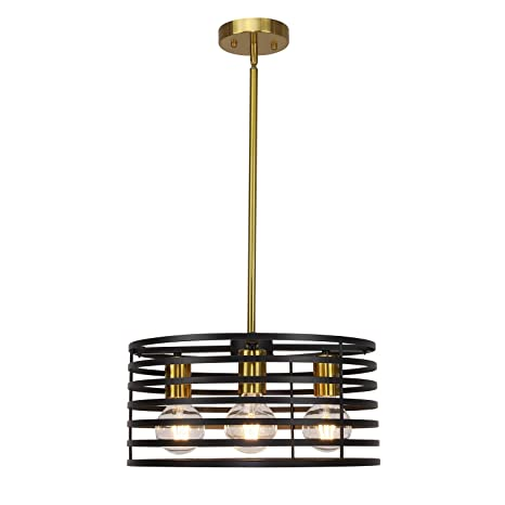 Vinluz 4 Lights Round Chandeliers Modern Cage Farmhouse Lighting Black And Brushed Brass Kitchen Island Light Industrial Pendant Lighting Ceiling