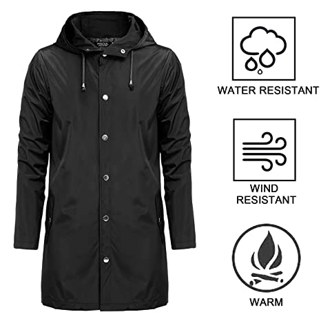 b2c2f4fa5cecf Amazon.com: FISOUL Raincoats Waterproof Lightweight Active Long Outdoor  Hooded Mens Rain Jacket: Sports & Outdoors