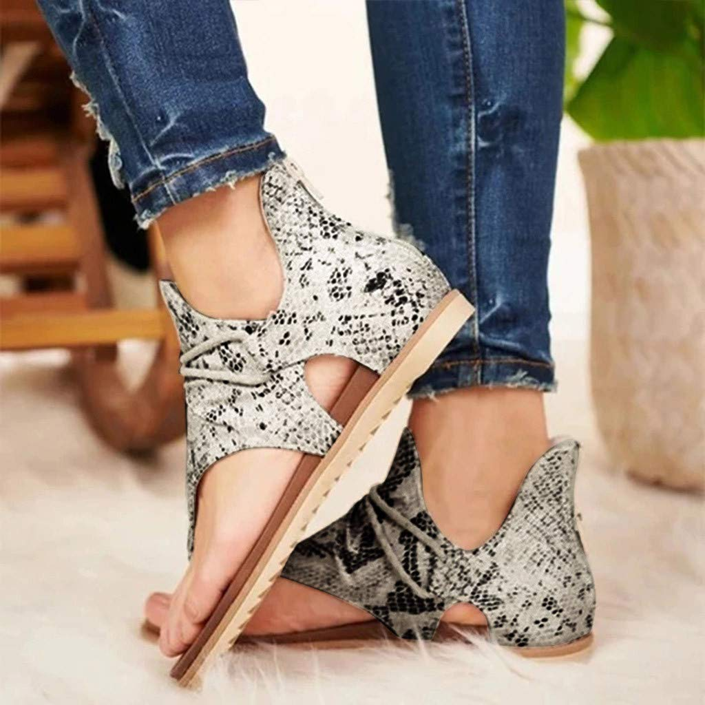 Ladies Fashion Flat Heel Slip On Sandals ALOVEMO 2020 Women Posh Gladiator Comfy Sandals Casual Vintage Sandals with Zipper