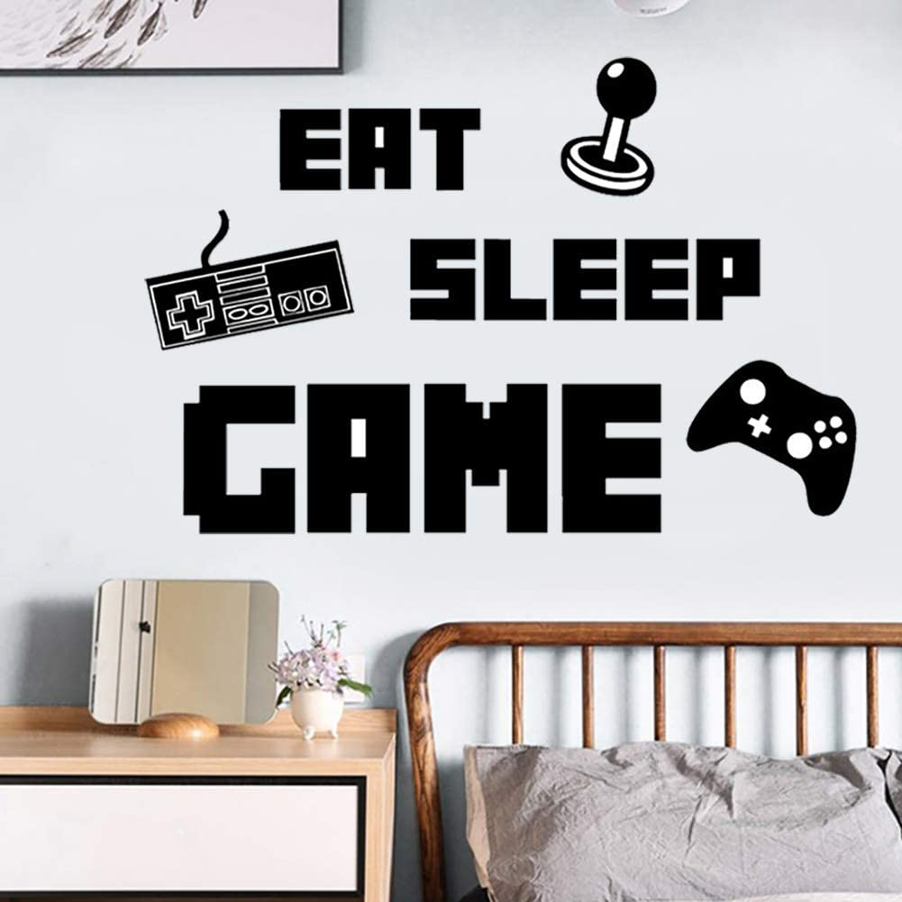 Eat Sleep Game & Controller Wall Decals Video Games Wall Stickers Murals for Teen Boys Room Kids Bedroom Playroom Home Decoration(Black)