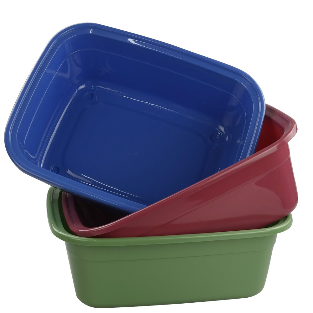 Ramddy 12 Quart Plastic Dishpan/Basin, 14'' x 11'' x 5.12'', Set of 3